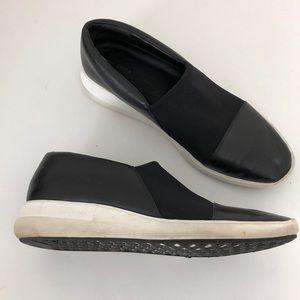 Via Spiga Raine Black Leather Slip On Sneakers